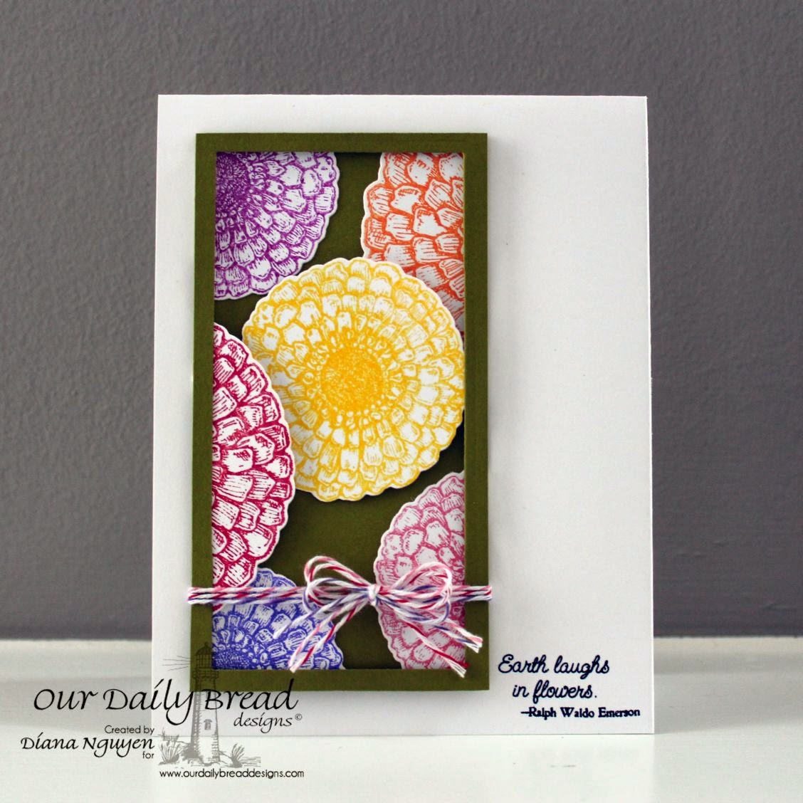 Diana Nguyen, Our Daily Bread Designs, Zinnia, Flower card