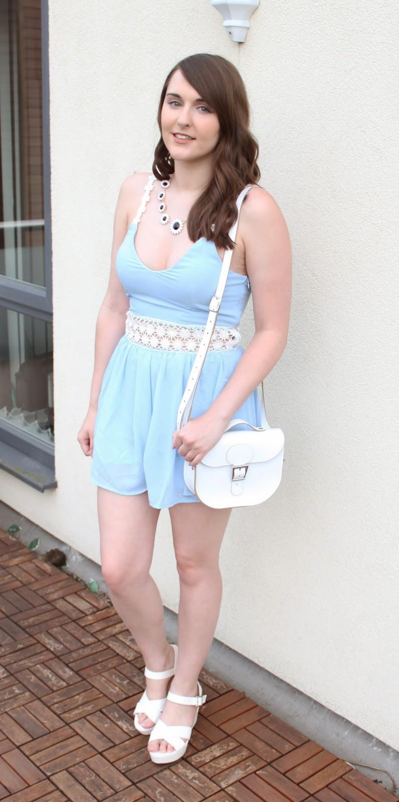 54303c83435 Missguided Blue Pastel Dress - £29.99 / Newlook Daisy necklace - £7.99 /  Britstitch White Half Pint Bag - £35 (in flash sale!) / Primark White  Wedges - £10