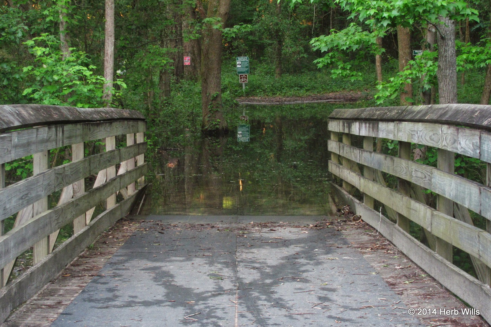 Flooded bridge