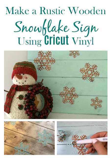 I used scrap wood, paint, and Cricut vinyl to make a Rustic Wooden Snowflake Sign.
