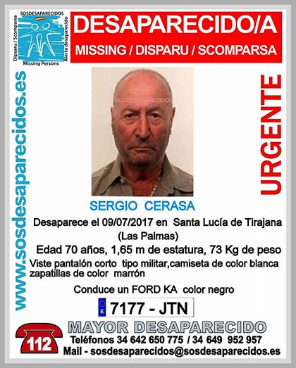 Sergio Cerasa, hombre mayor desaparecido en  Santa Lucía de Tirajana, Gran Canaria