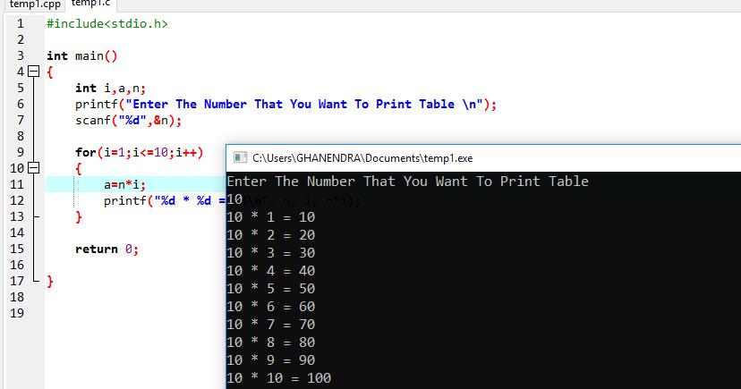 Java program to print multiplication table