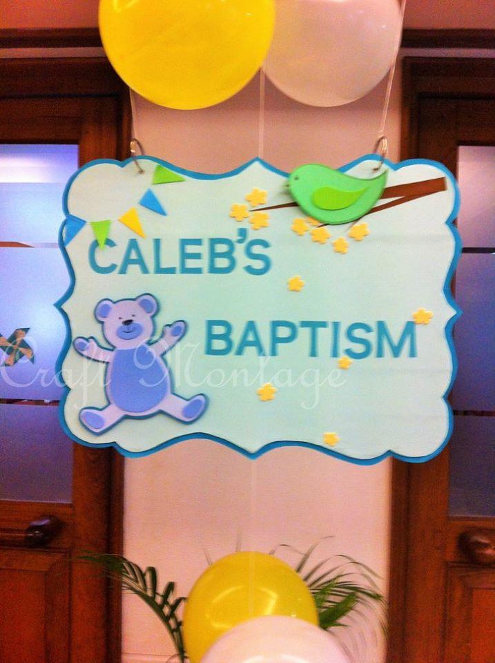 Craft Montage Boy Baptism Party Decor Blue Green Yellow Theme