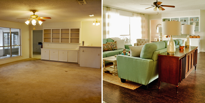 1970s Living Room Makeover | See the transformation of this fun space in a quirky 1970 fixer upper.
