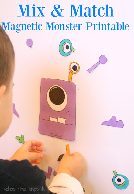 Fun busy bag or quiet time activity for preschooler's!  Let their creative juices flow with our Mix and Match Magnetic Monster printable(s).