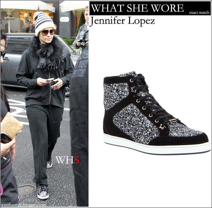 6400df7108a ... france what she wore jennifer lopez in jimmy choo glitter silver  sneakers i want her style