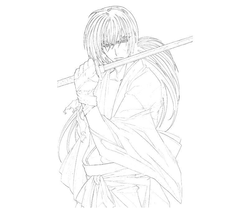 kenshin coloring pages | Rurouni Kenshin Himura Kenshin Attack | Mario