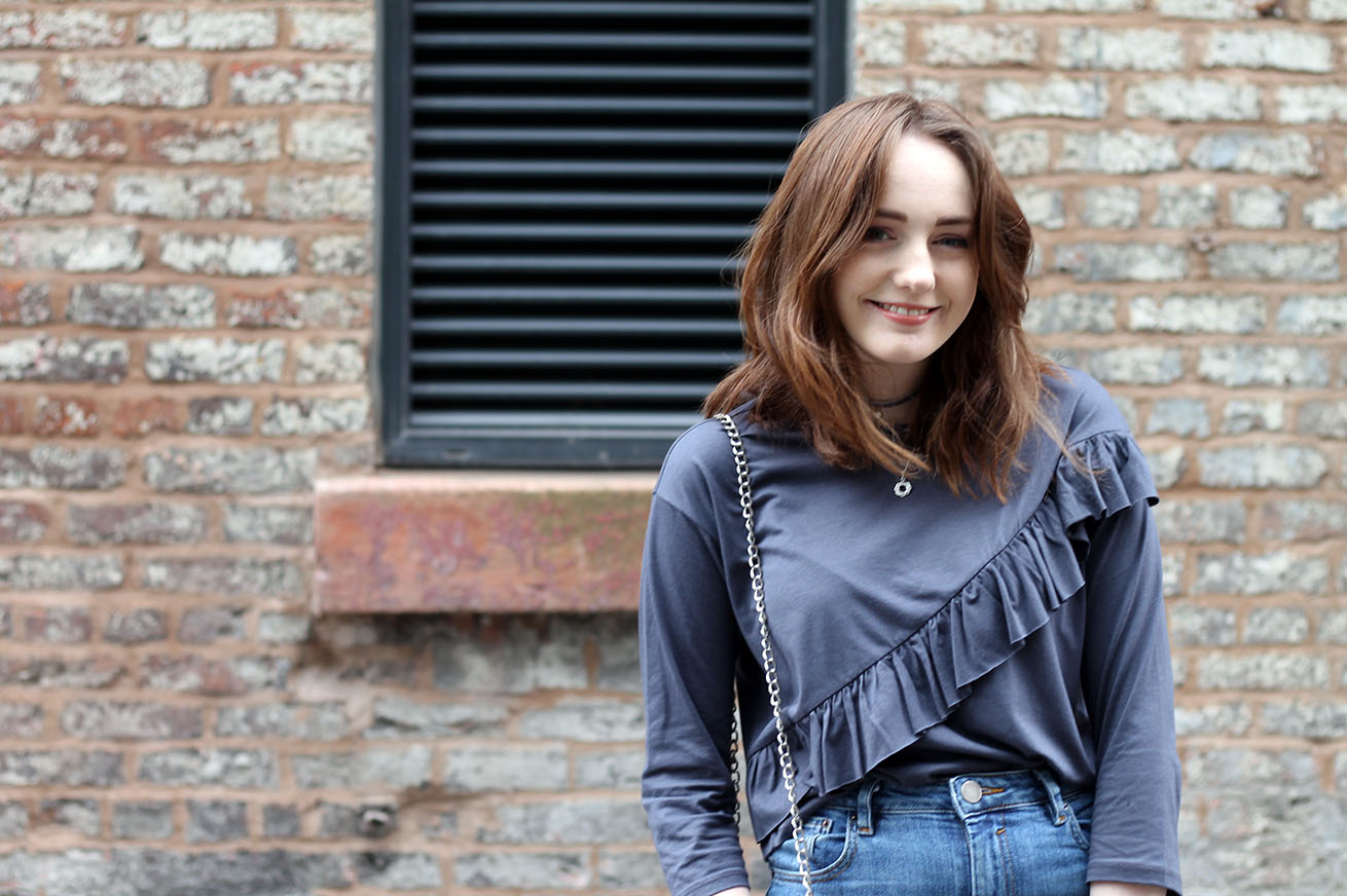 Liverpool fashion blogger, grey ruffle top