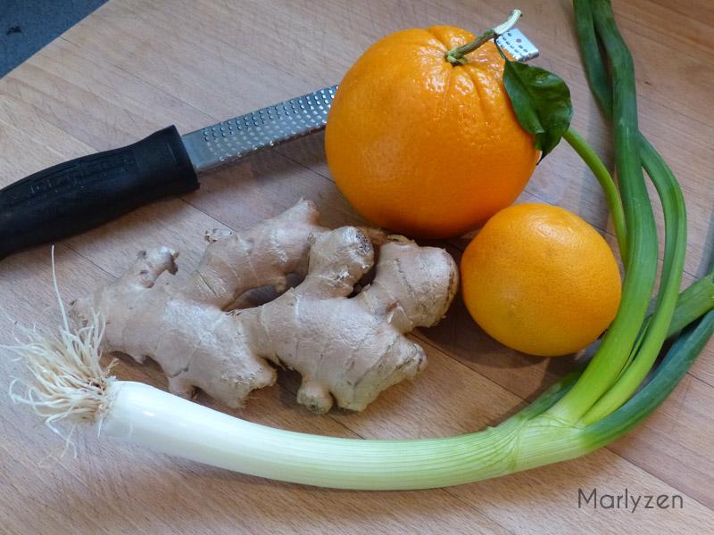Oranges, gingembre et oignon vert.