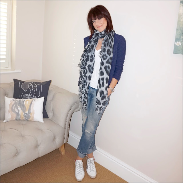 My Midlife Fashion, J Crew vintage v neck long sleeve tee, lily and lionel leopard print scarf, laura ashley edge to edge stitch jacket, golden goose superstar leather trainers, zara distressed boyfriend jeans
