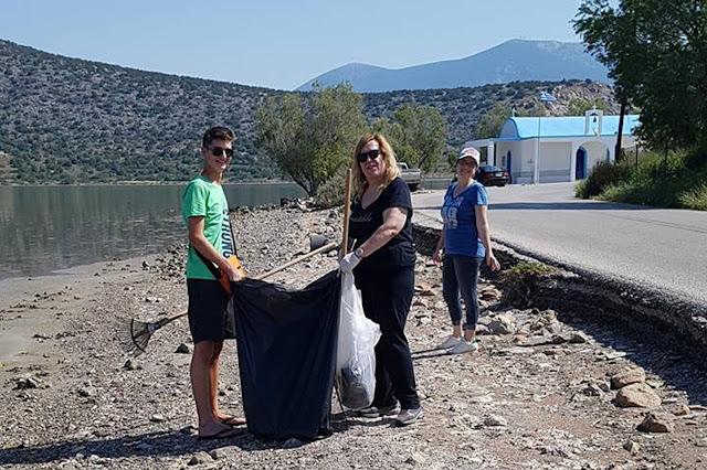 Ο Πολιτιστικός Σύλλογος  Φράγχθι καθάρισε την παραλία του Αγίου Δημητρίου