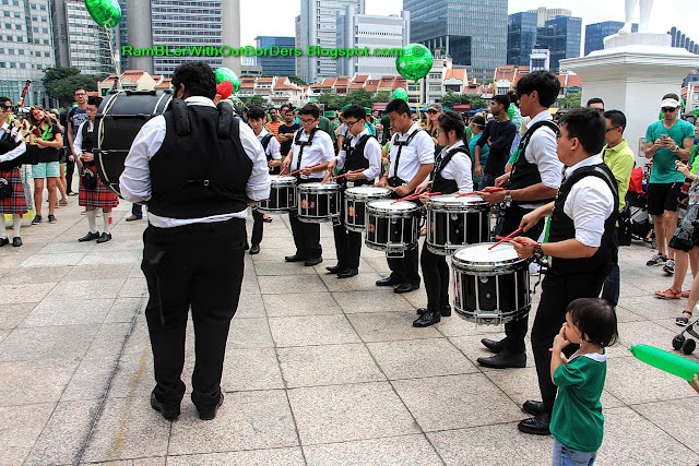 Percussion group, pipe band, St Patrick's Day Street Festival, Singapore