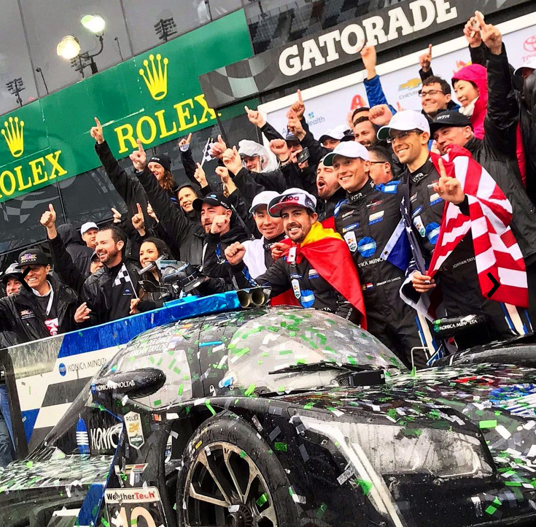 03aa66fa134 In the photo below we see the winning team of the IMSA 24 hour race. From  left to right we see, Kamui Kobayashi of Japan, Jordan Taylor, Reneger Van  Ser ...