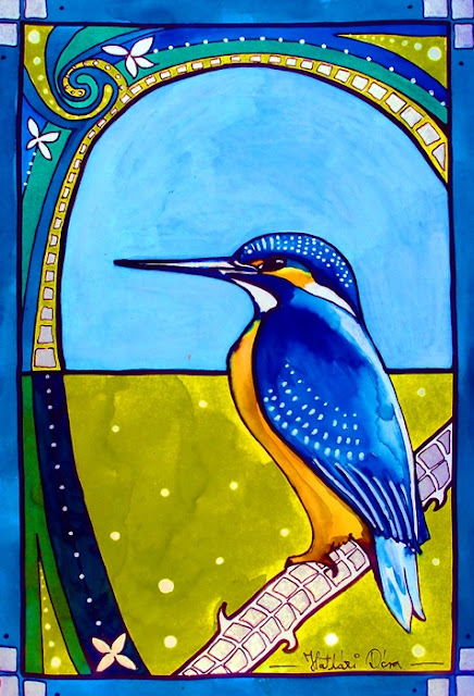 Kingfisher ecoline liquid watercolor ink painting by Dora Hathazi Mendes with art deco style elements.