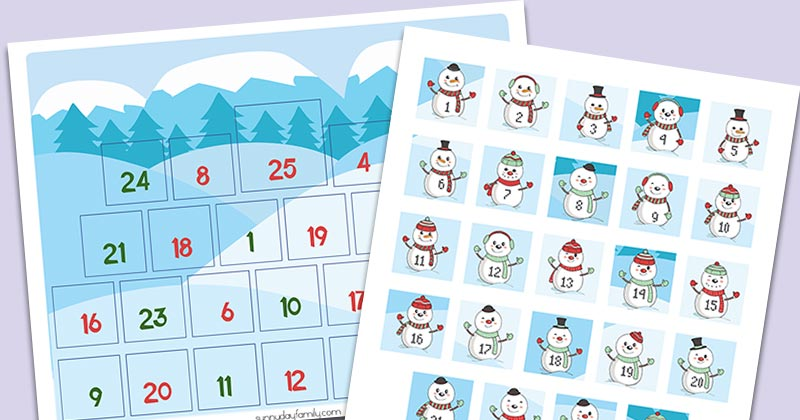 photograph relating to Countdown Calendar Printable titled Absolutely free Printable Snowman Xmas Countdown Calendar for Young children