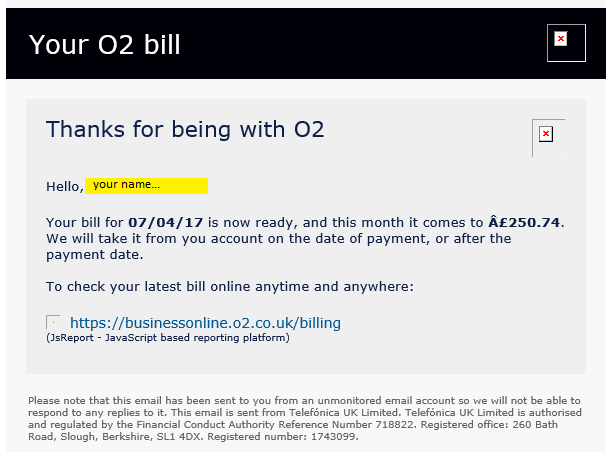 Phishing emails from O2 and Vodafone