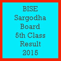 5th Class Result 2017 BISE Sargodha Board