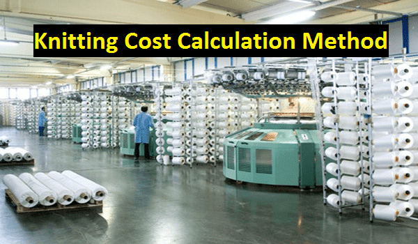 Knitting cost calculation method in textile
