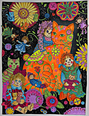 Completed page from Creative cats coloring book
