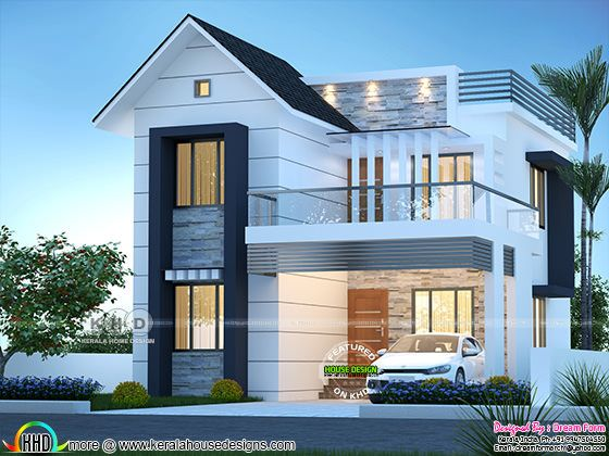 1600 square feet 3 bedroom mixed roof house plan