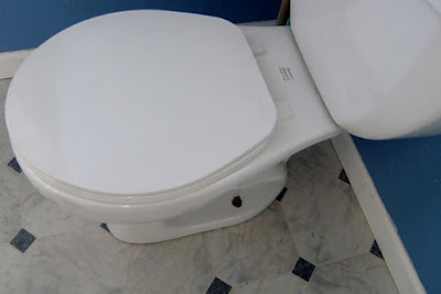 around base of toilet