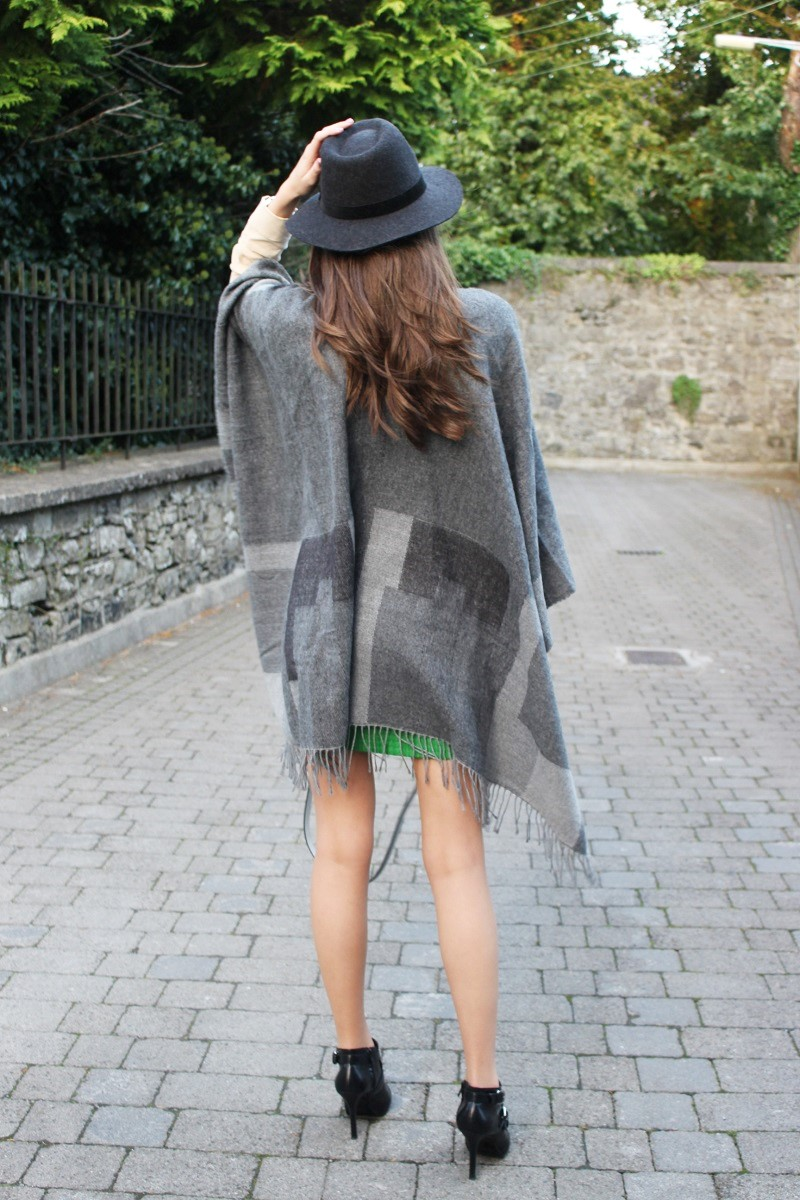 big grey poncho and heels
