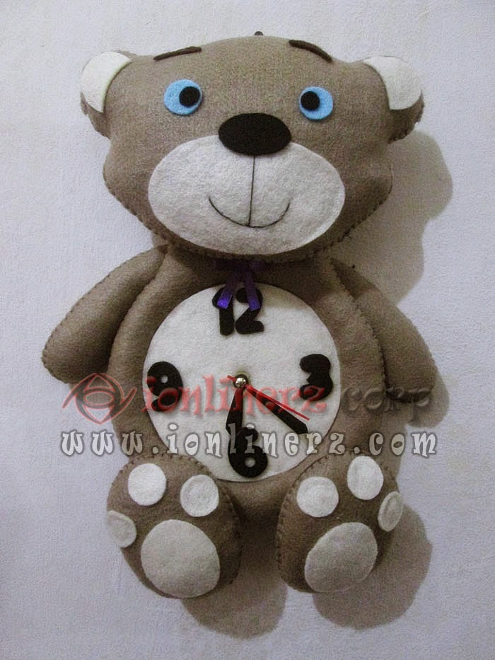 Jam Dinding Flanel Karakter Kartun Boneka Beruang/Teddy Bear