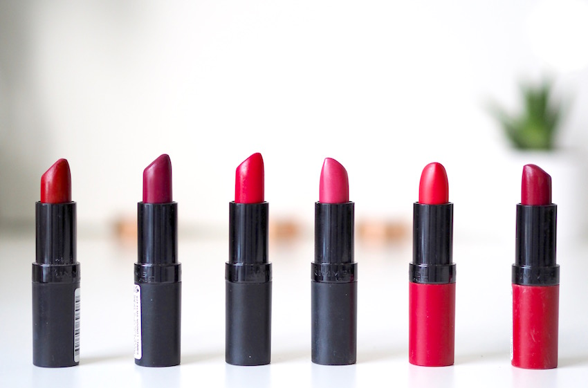 Kate Moss Rimmel lipsticks, a good colour selection for a range of skin tones at budget/drugstore prices