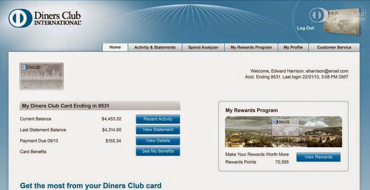 Diners Club Account Settings Screen