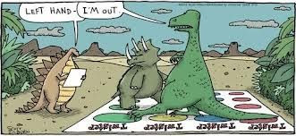 t rex playing twister, triceratops funny, stegasaurus comic, trex comic, t rex tiny arms