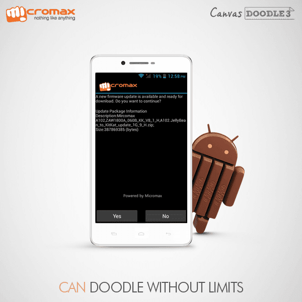 Update Your Micromax Doodle 3 A102 to Android 4.4 Kitkat