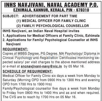 Applications are invited for Doctors and Psychological Counsellor Vacancy posts in Naval Academy Ezhimala