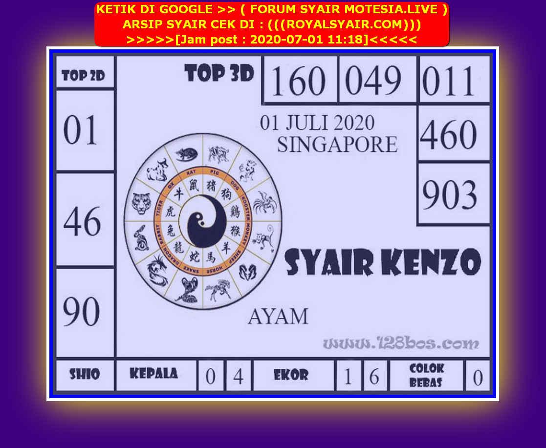 Kode syair Singapore Rabu 1 Juli 2020 137