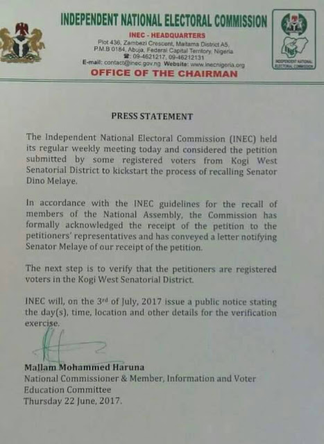 Titlebreaking news the federal executive council rejected a inec writes dino melaye to commence recall process july 3 malvernweather Choice Image