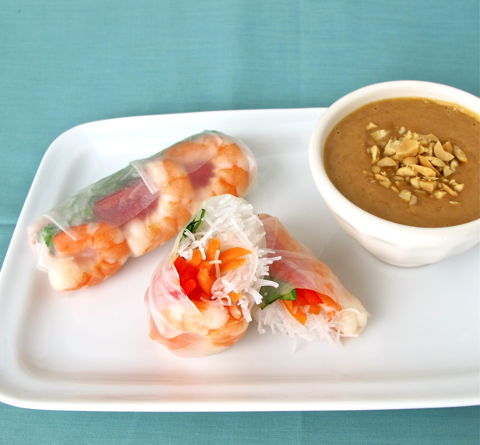 Jenny Steffens Hobick Shrimp Spring Rolls Recipe Peanut Dipping Thai Sauce Simple Recipes