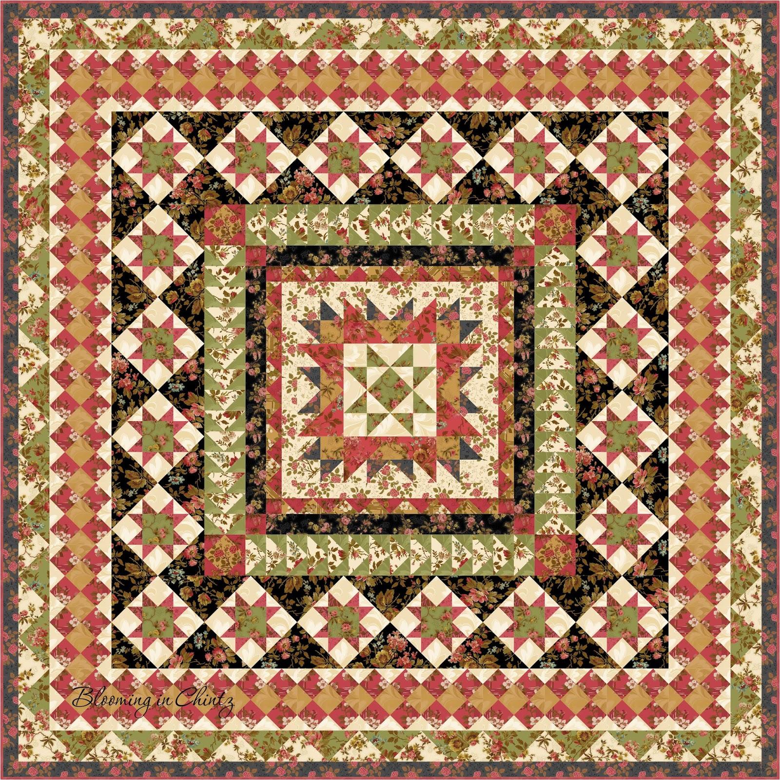 Blooming In Chintz Garden Star Medallion Quilt Pattern