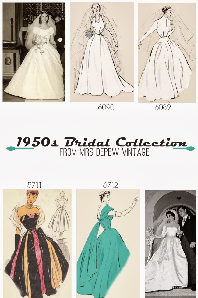 Vintage 1950s wedding dress sewing patterns from Mrs Depew Vintage