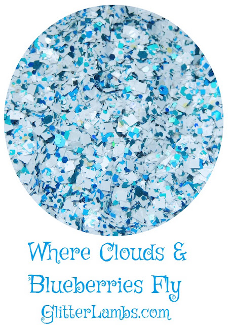 """Our """"Where Clouds & Blueberries Fly"""" loose glitter mix has white matte squares, white shreds, tiny blue holographic squares and tiny blue iridescent glitters."""