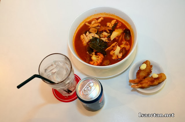 Set C Power Up Combo - Noodle in tomyum soup, Tempura Prawn and soft drink