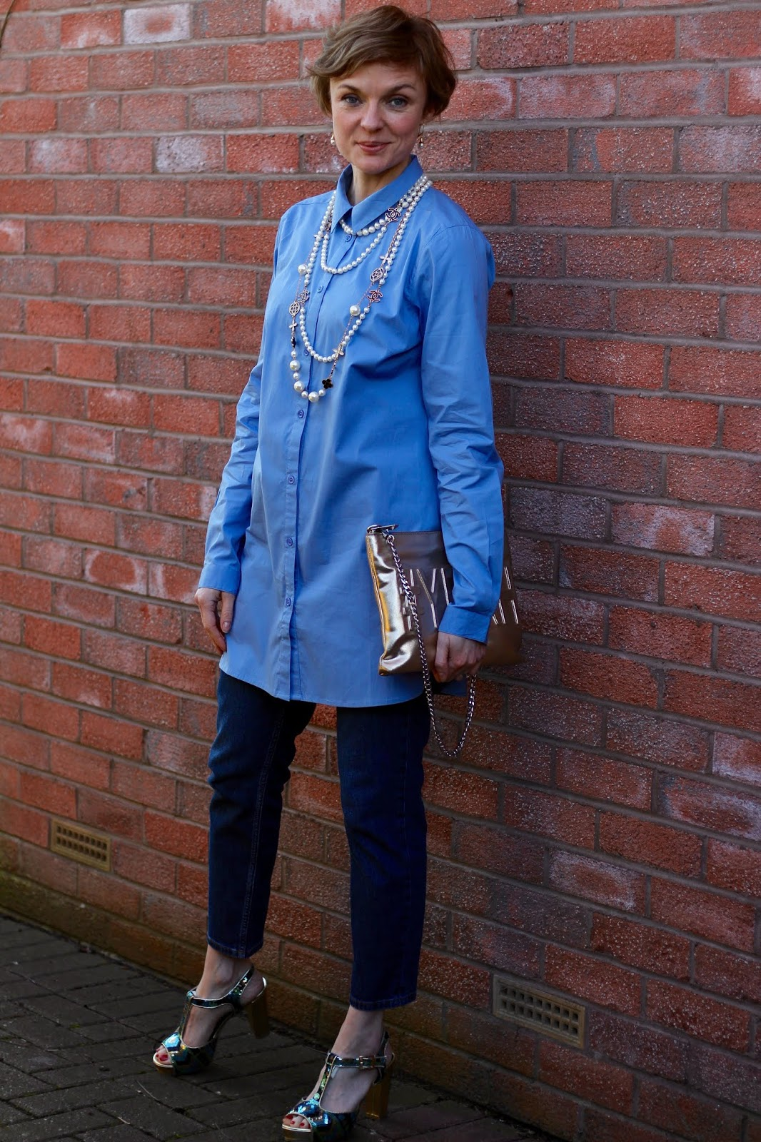 Longline shirt, Topshop Orson Jeans, Sequin Shoes | Fake Fabulous