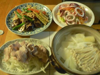 夕食の献立 献立レシピ 飽きない献立 五目野菜炒め 豚バラボイル イカと野菜サラダ ポン酢鍋