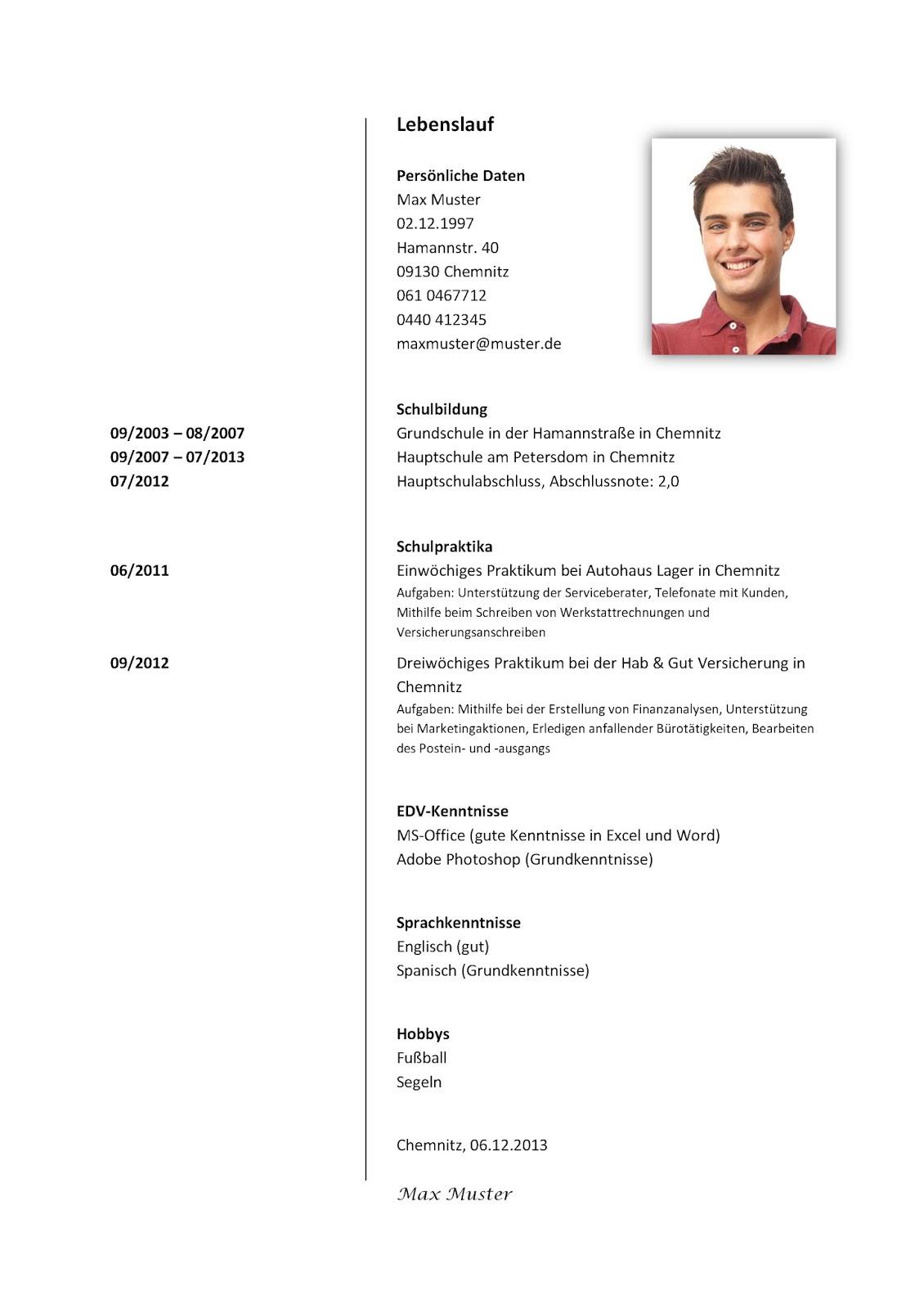 Muster Lebenslauf Vorlage Schweiz Lebenslauf Vorlage Schweiz