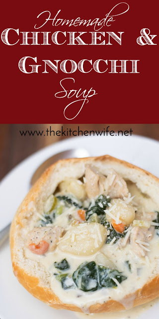 The pinnacle image for the homemade chicken and gnocchi soup.