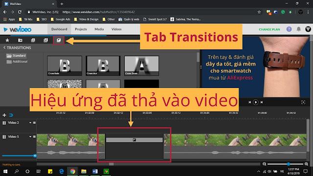 Cách làm video online trên máy tính bằng WeVideo – Chuyển cảnh