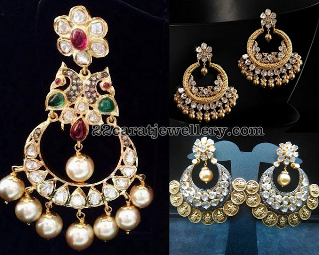 Polki Diamonds Unique Large Chandbalis