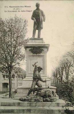 Statue de Jules Chagot, Montceau, carte postale (collection privée)