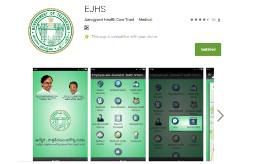 EHS Health Cards Android App Download Employees Health Care Scheme Telangana State Journalists Health Care Scheme by Govt of Telangana EJHS Hospital Search Health Cards Details Treatment Status How to Use Health Card Employees Health Scheme Journalist Health Scheme Report a Complaint Feedback Form Wellness Centres Electronic Health Record Nearby Hospitals Employees and Journalists Helath Care Scheme Download Android App for Health Cards EHS/EJHS ejhs-health-cards-android-app-download-telangana-govt