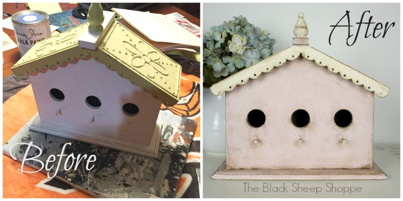 Before and after shabby chic birdhouse