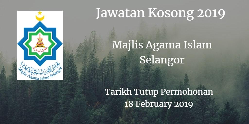 Jawatan Kosong MAIS 18 February 2019