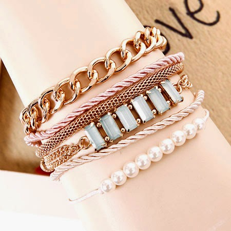 Hot selling Alloy Punk Style Simple Pearls Bangles/Bracelets